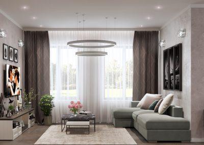 Дизайн проект гостиной в Приуралье